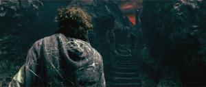 Frodo climbing into Mordor