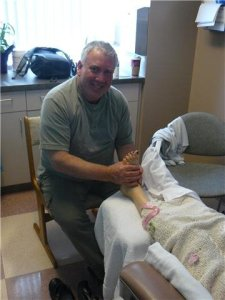 Richard giving reflexology
