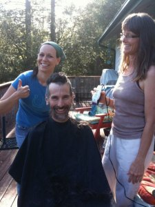 Shaving a friends head