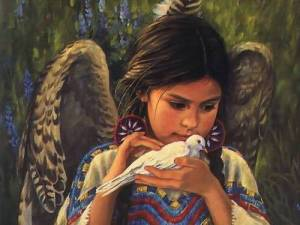 Native American Girl & Dove