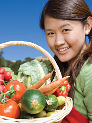 Girl with basket of veggies